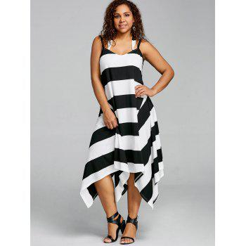 Plus Size Striped Handkerchief Slip Dress - BLACK STRIPE 5XL