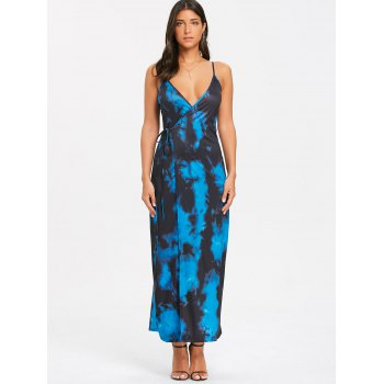 Spaghetti Strap Tie Dyed Printed Maxi Wrap Dress - COLORMIX L