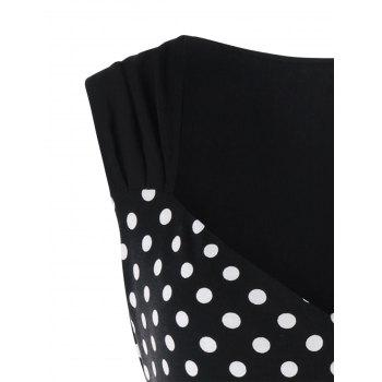 Plus Size Polka Dot Sweetheart Neck T-shirt - BLACK 4XL