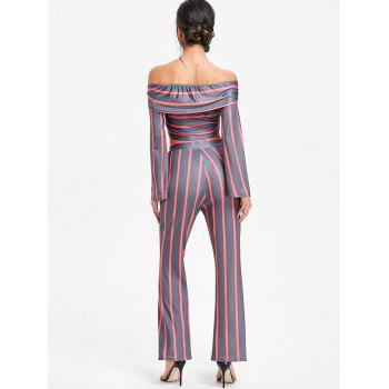 Stripe Wide Leg Pants and Crop Top - RED S