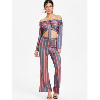 Stripe Wide Leg Pants and Crop Top - RED L