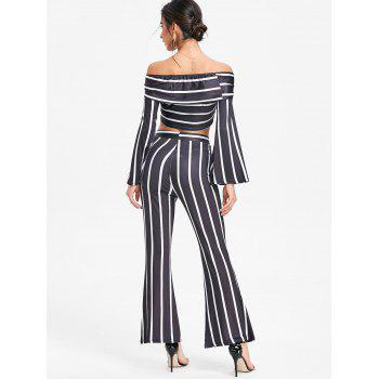 Stripe Wide Leg Pants and Crop Top - BLACK L