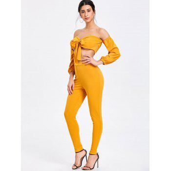 Skinny Pants and Tie Up Crop Top - MUSTARD XL