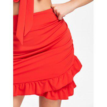 Tie Up Bra Top and Ruffle Mini Skirt - RED XL