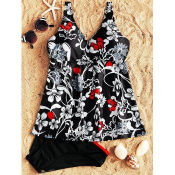 Floral Vintage  Tankini Swimsuit - COLORMIX XL
