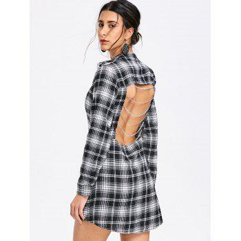 Backless Chains Plaid Shirt Dress - BLACK M