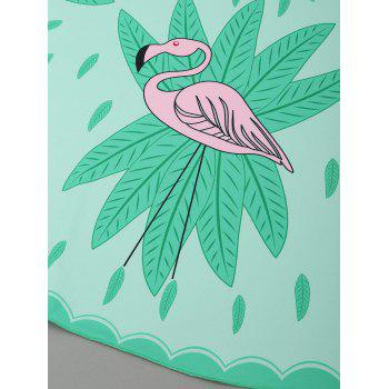 Flamingo Pattern Round Beach Throw - GREEN ONE SIZE