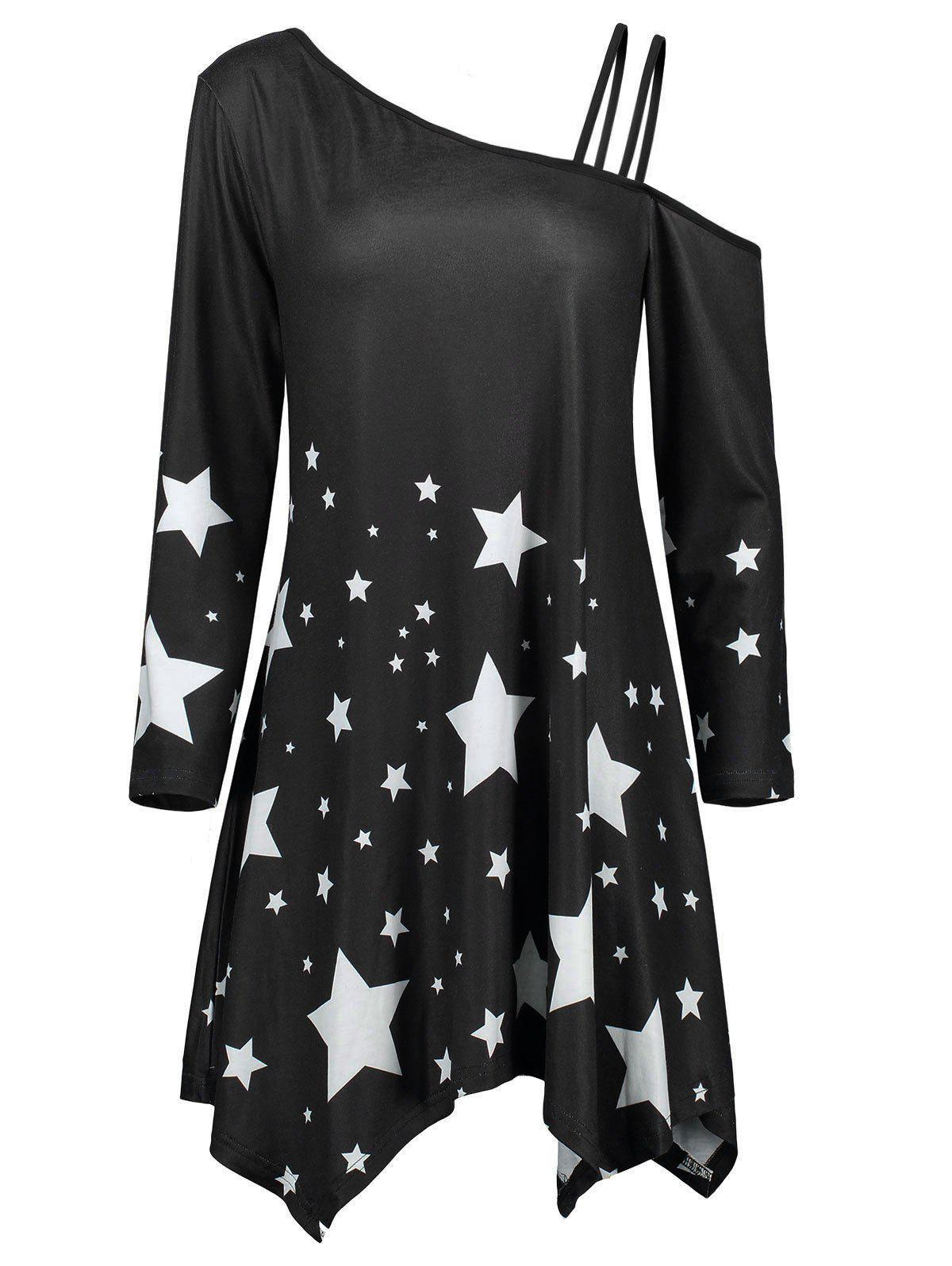 Asymmetric Star Print Skew Collar Dress - BLACK XL