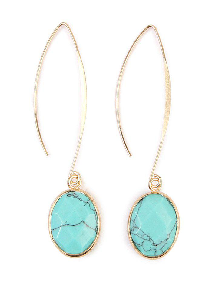 Artificial Gemstone Fishhook Drop Earrings - LIGHT BLUE
