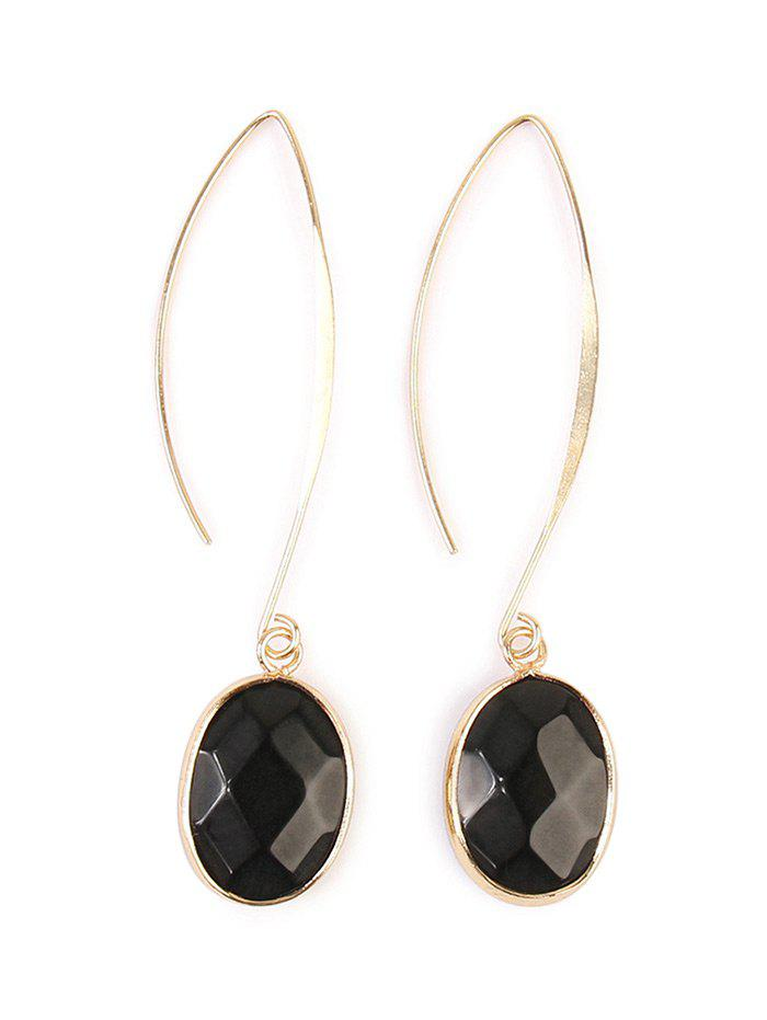 Artificial Gemstone Fishhook Drop Earrings - BLACK