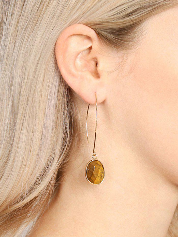 Artificial Gemstone Fishhook Drop Earrings - BROWN