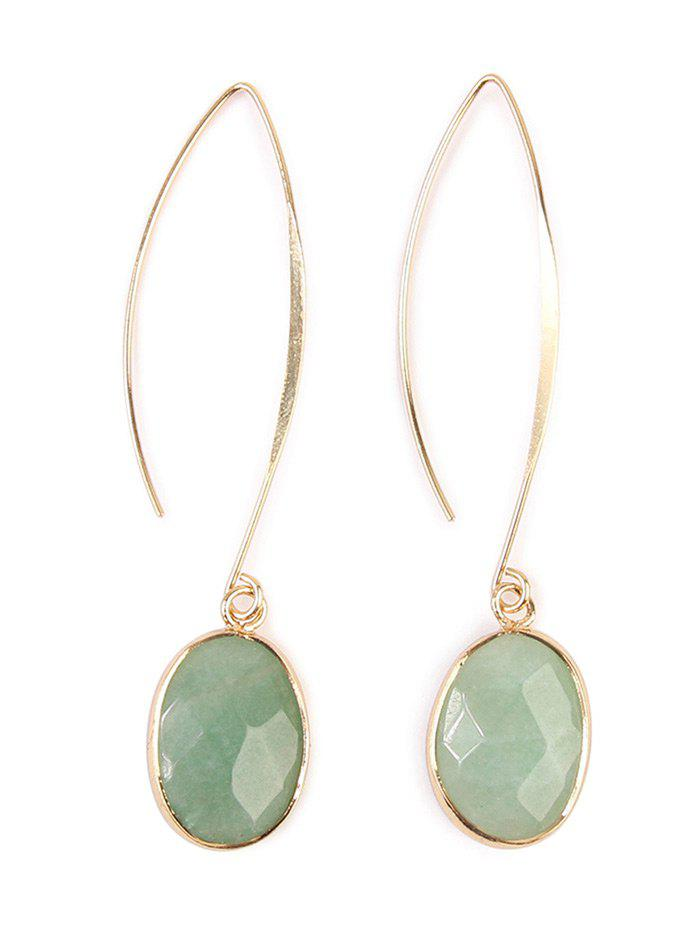 Artificial Gemstone Fishhook Drop Earrings - LIGHT GREEN