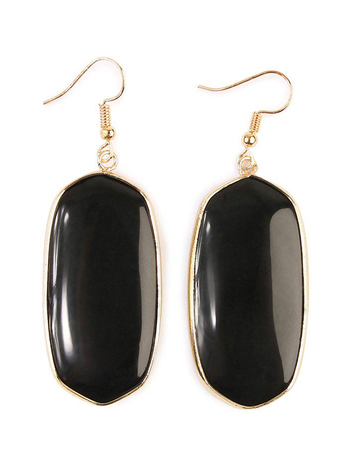 Artificial Gemstone Dangle Drop Earrings - BLACK