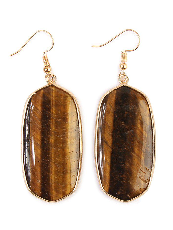 Artificial Gemstone Dangle Drop Earrings - DEEP BROWN