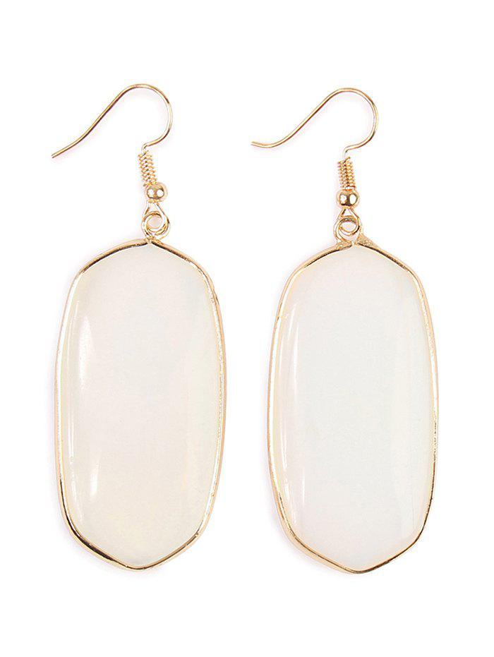 Artificial Gemstone Dangle Drop Earrings - WHITE