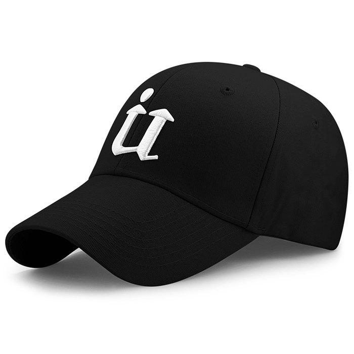 Unique U Embroidery Adjustable Sunscreen Hat - BLACK