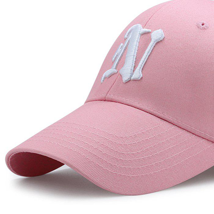 Simple N Pattern Embroidery Adjustable Baseball Cap - PINK