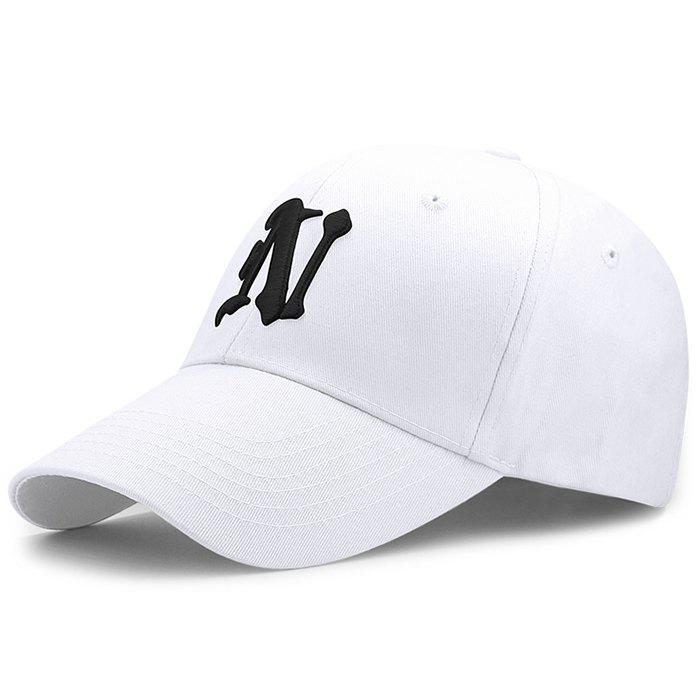 Simple N Pattern Embroidery Adjustable Baseball Cap - WHITE