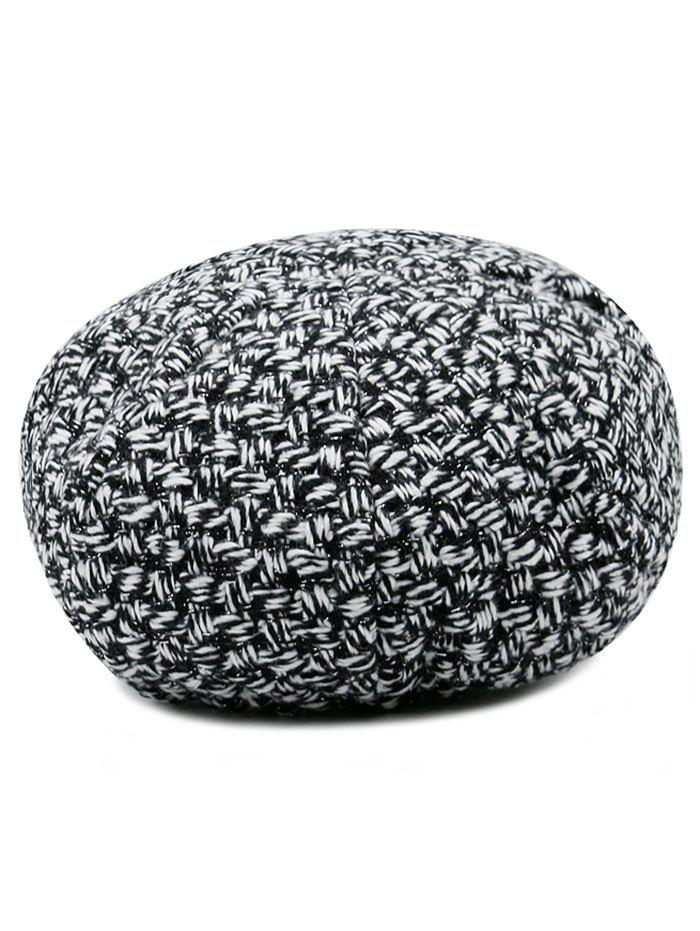 Retro Checked Pattern Knitted Beret Hat - BLACK WHITE