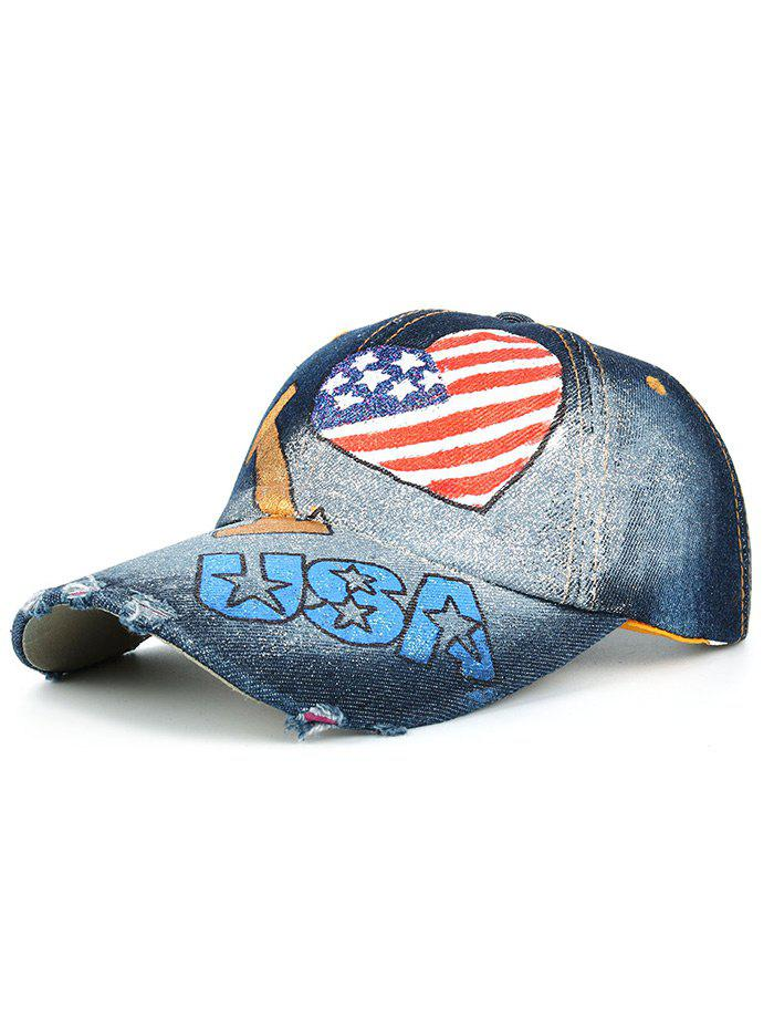 Heart Shaped USA Flag Hand Drawing Denim Baseball Cap -