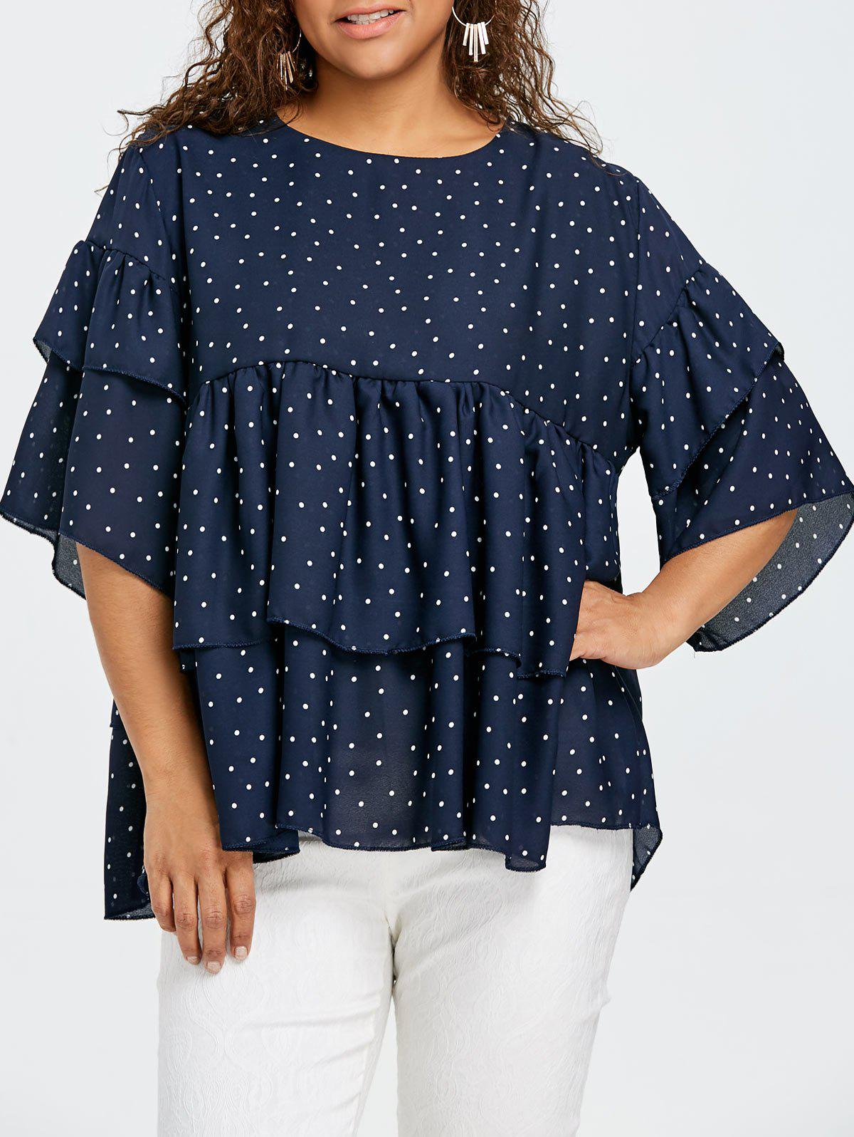 Polka Dot Tiered Plus Size Blouse - CADETBLUE 3XL