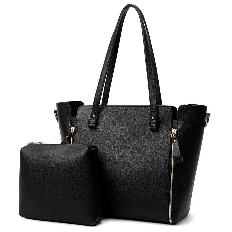 Multipurpose 2 Pieces PU Tote Bag Set - BLACK