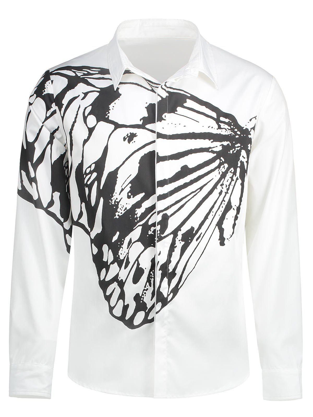 Butterfly Printed Shirt - WHITE/BLACK M