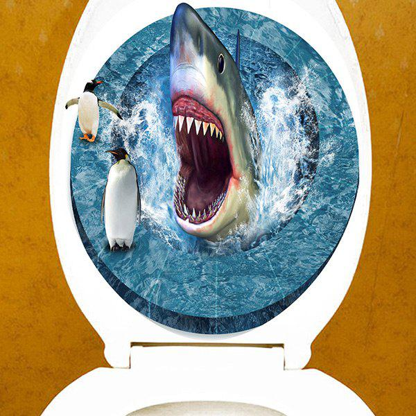 Hungry Shark Imprimé Salle de bain Decor Toilette Autocollant - multicolore 12.6*15.4 INCH