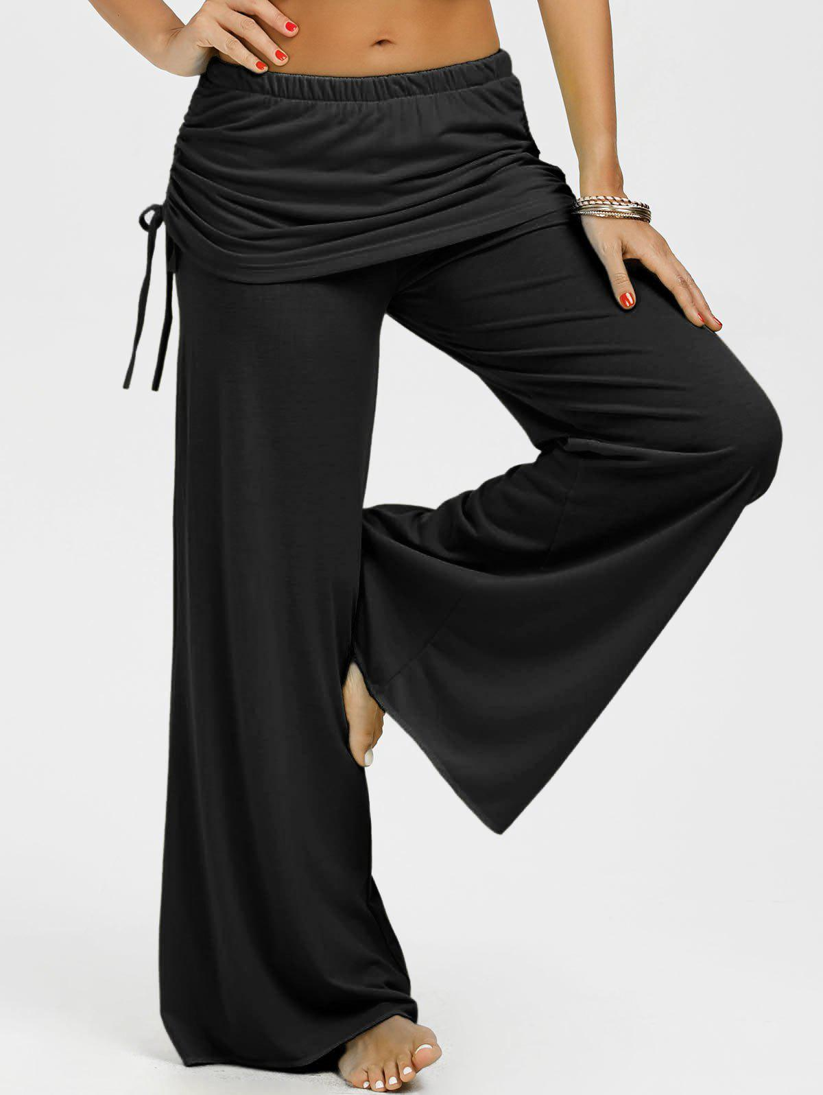 Skirted Drawstring Wide Leg Pants - BLACK L