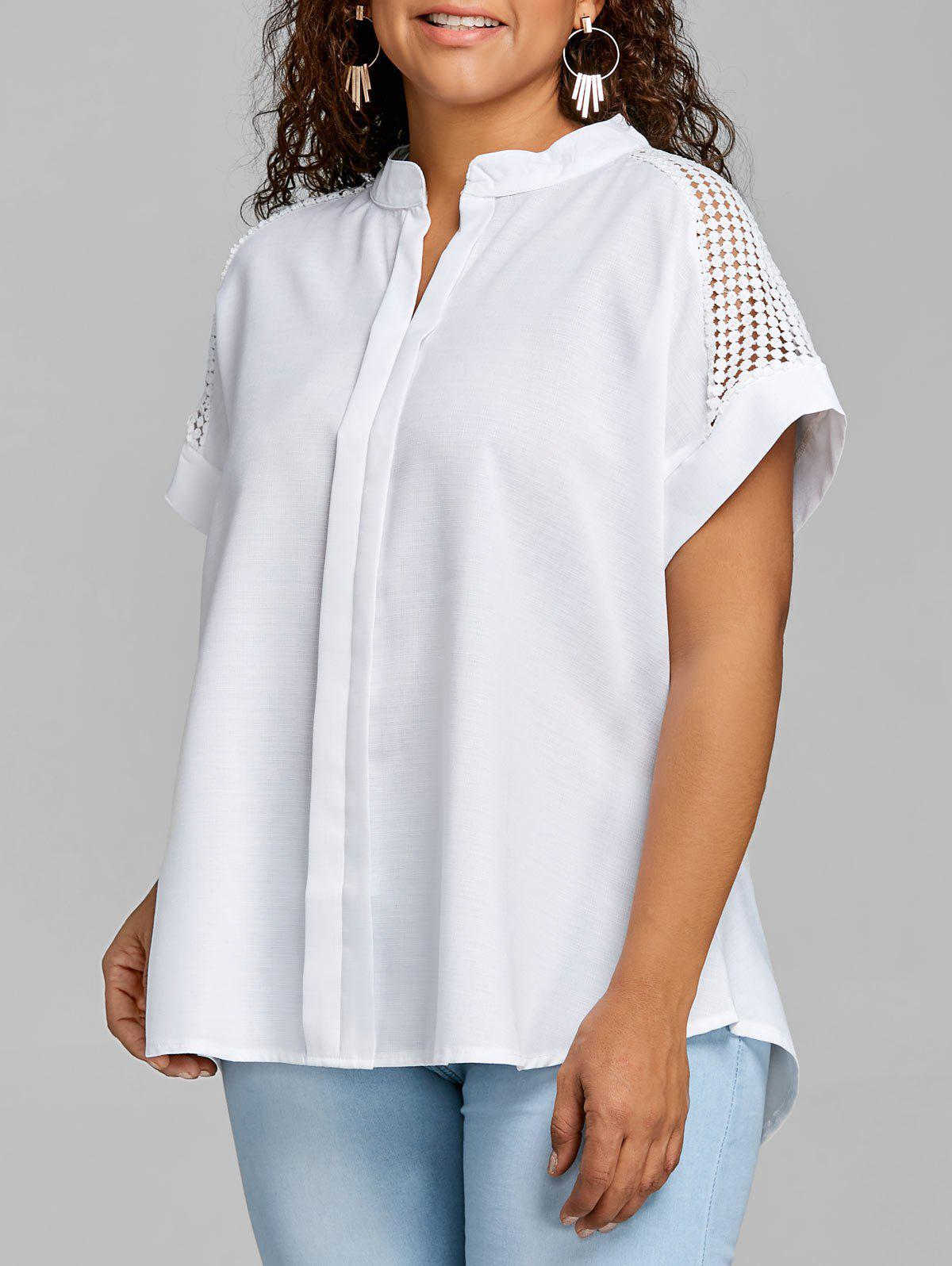 Crochet Pleated Plus Size Blouse - WHITE 2XL