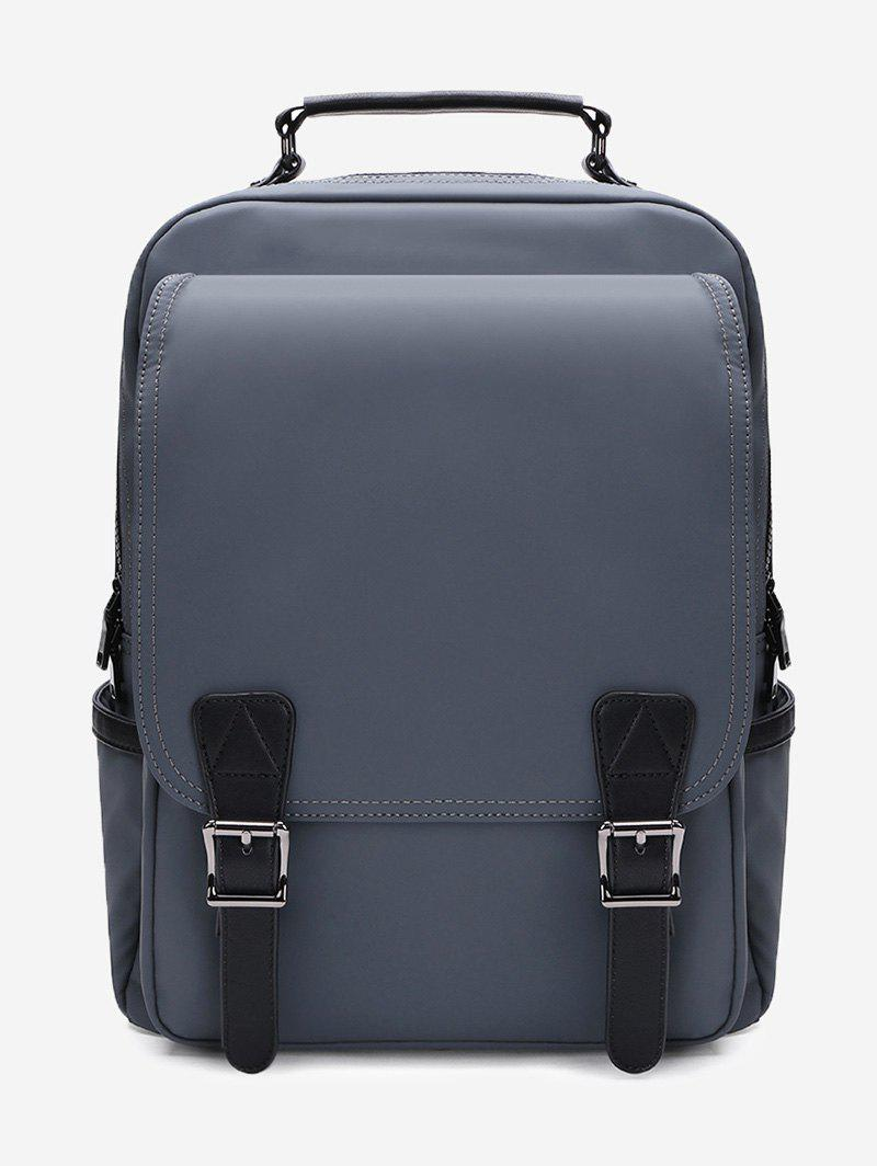 Multipurpose Double Buckles Laptop Backpack with Handle - DEEP GRAY