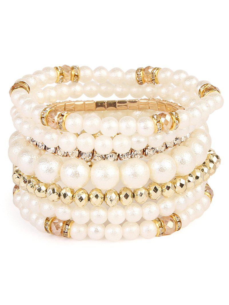 Faux Pearl Rhinestoned Beaded Bracelet Set - GOLDEN