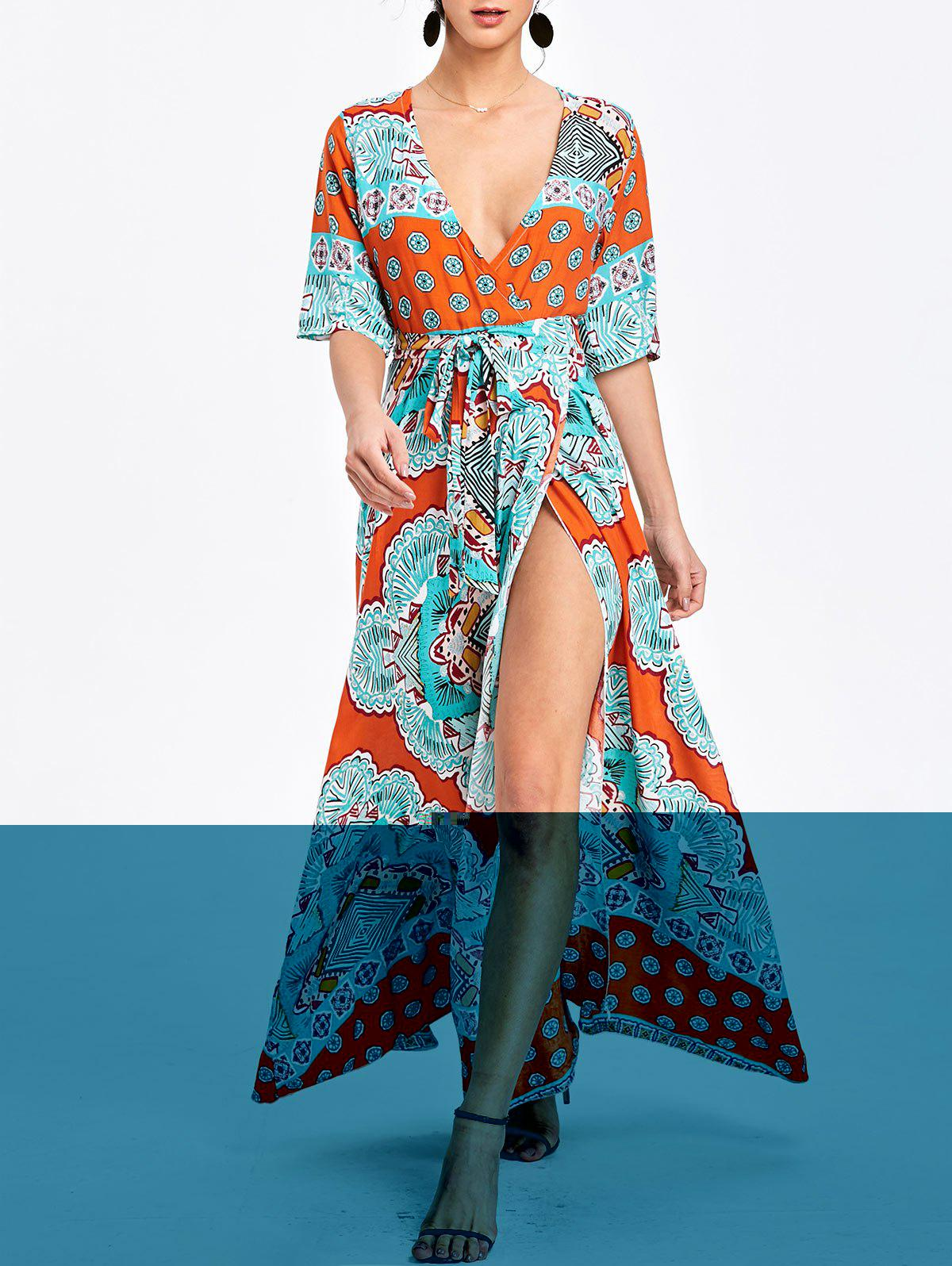 Bohemian Printed Maxi Surplice Slit Dress - ORANGE M