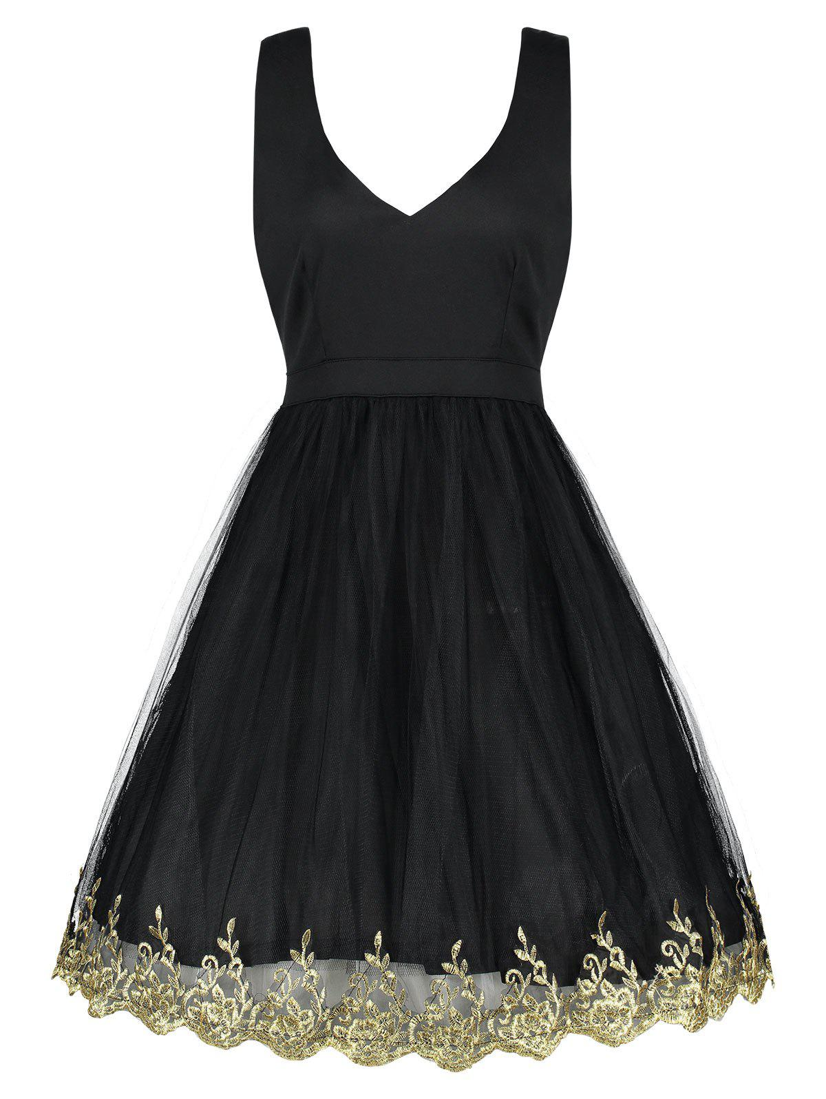 V-neck A Line Cocktail Dress - BLACK M