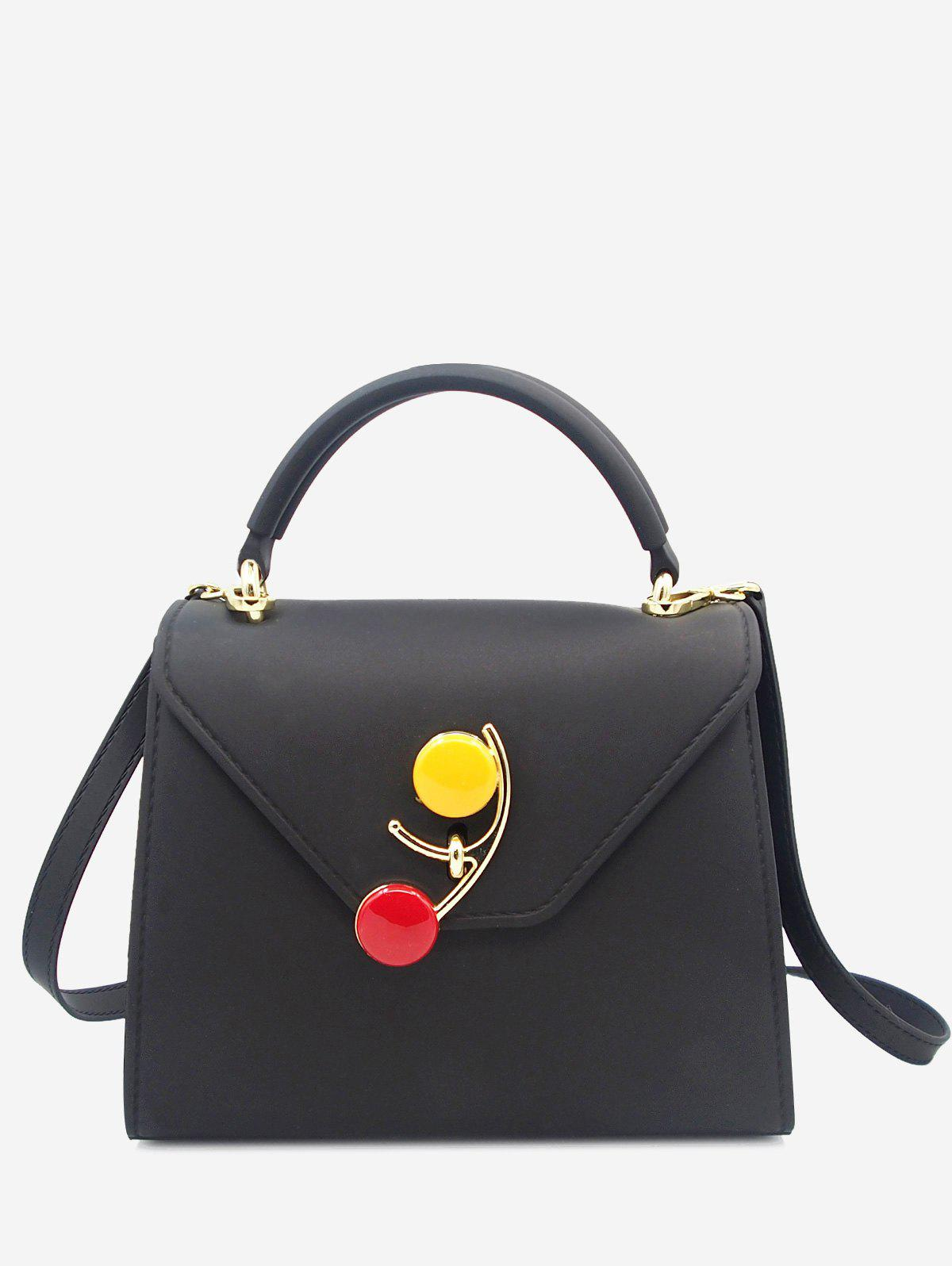 Flap Contrasting Color Handbag - BLACK