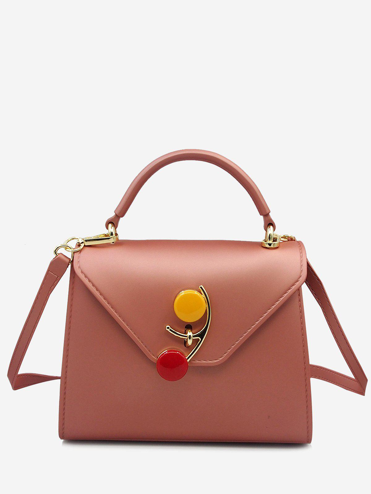 Flap Contrasting Color Handbag - ROSE GOLD