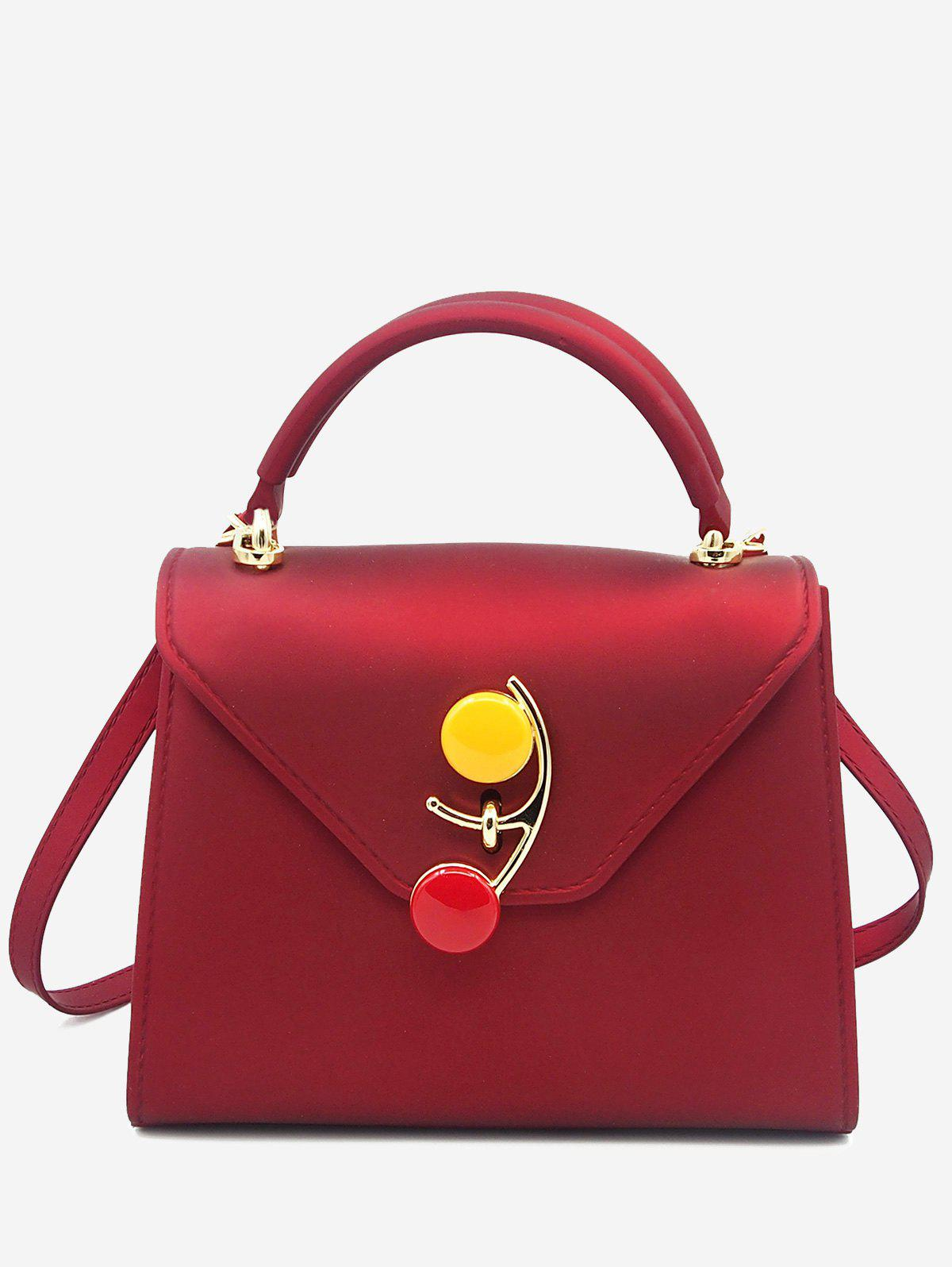 Flap Contrasting Color Handbag - RED