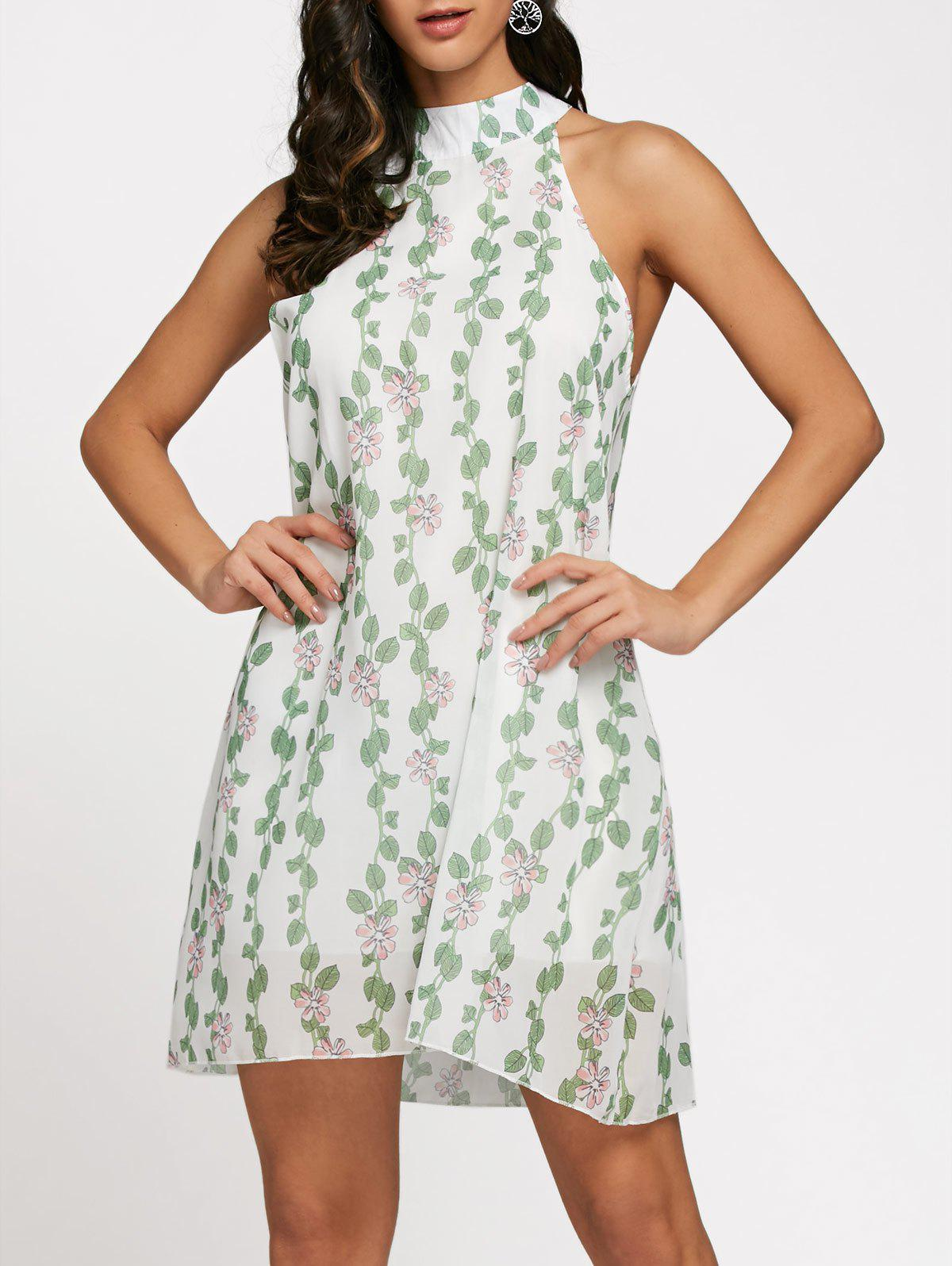 Floral Leaf Printed Chiffon Sleeveless Shift Dress sleeveless floral leaf printed vintage dress