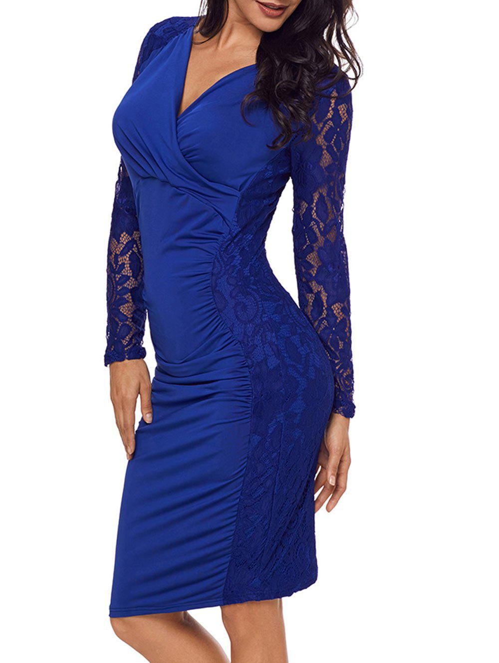 Lace Panel Surplice Neck Bodycon Dress - BLUE L