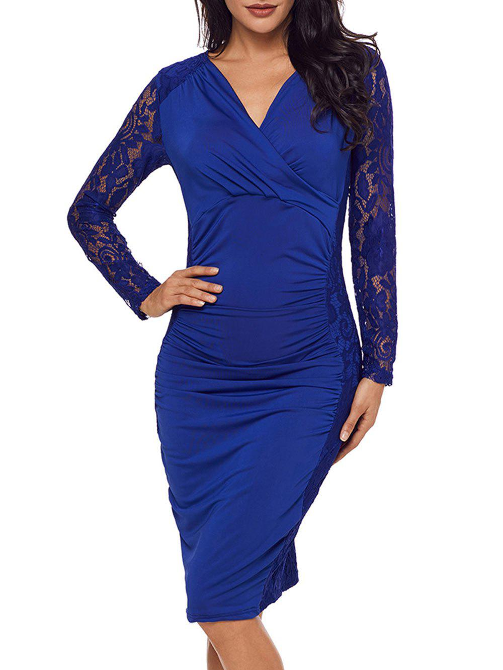 Lace Panel Surplice Neck Bodycon Dress - BLUE XL