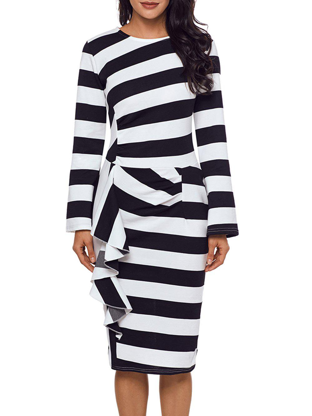 Stripe Ruffle Long Sleeve Dress - BLACK S