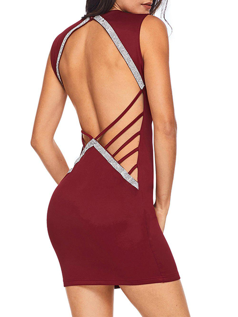 Backless Rhinestone Bodycon Mini Dress - BURGUNDY S