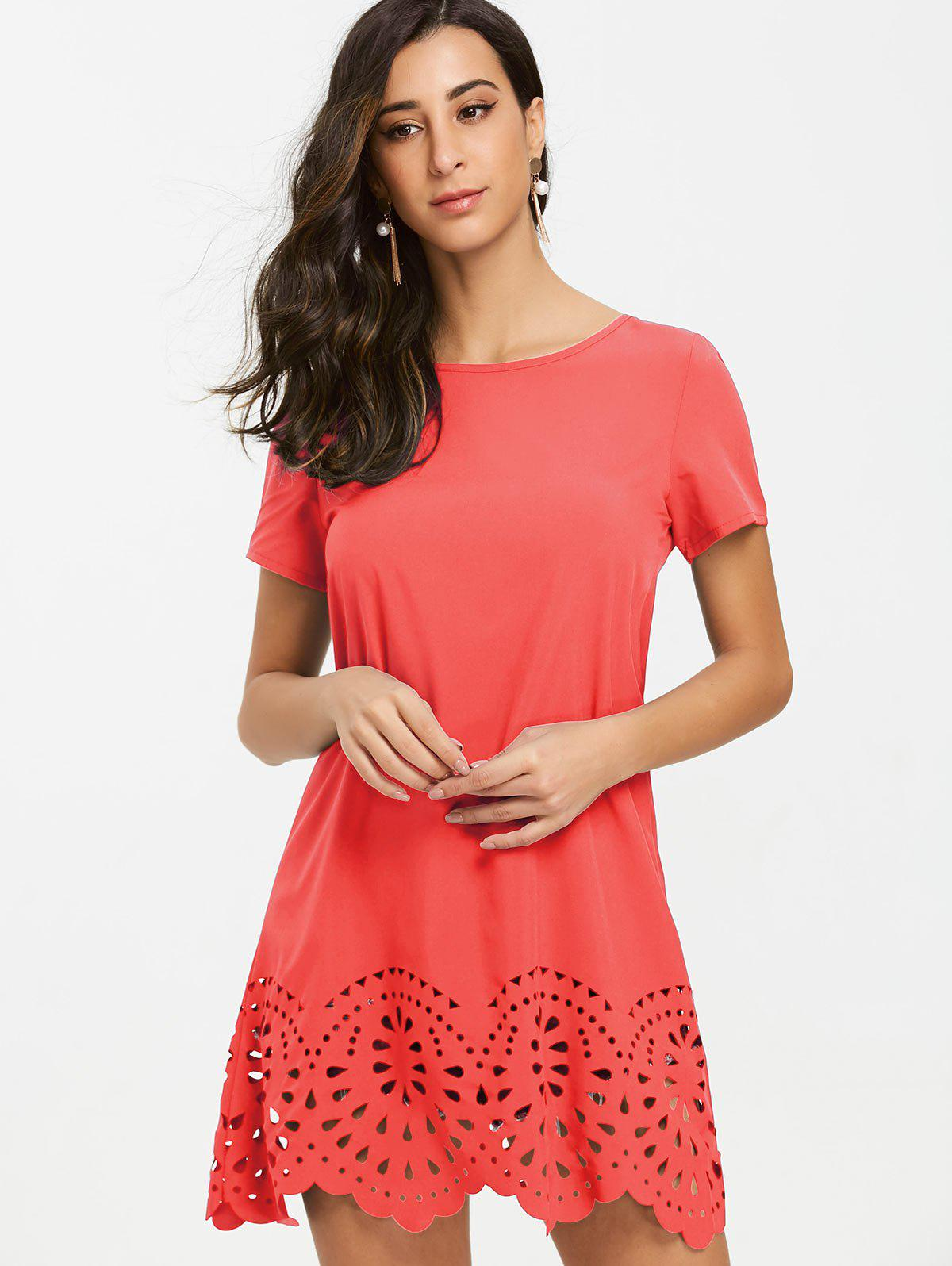 Short Sleeve Hollow Out Hemline Tee Dress - WATERMELON RED M
