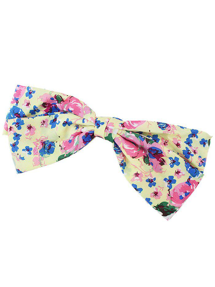 Floral Bowknot Hair Clip - PINK