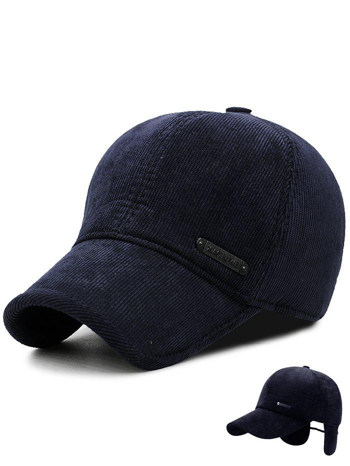 Winter Stripe Pattern Corduroy Earmuffs Thicken Baseball Cap - CERULEAN