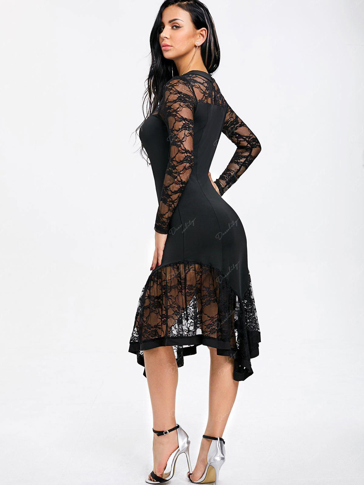 Lace Panel Cut Out Asymmetrical Club Dress - BLACK M