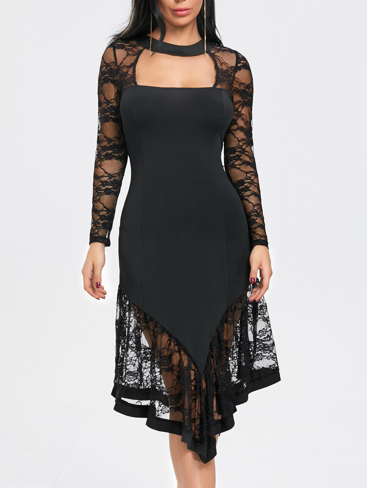 Lace Panel Cut Out Asymmetrical Club Dress - BLACK L