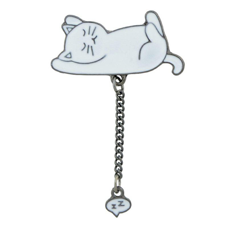 Cute Kitten Tiny Chain Brooch - WHITE