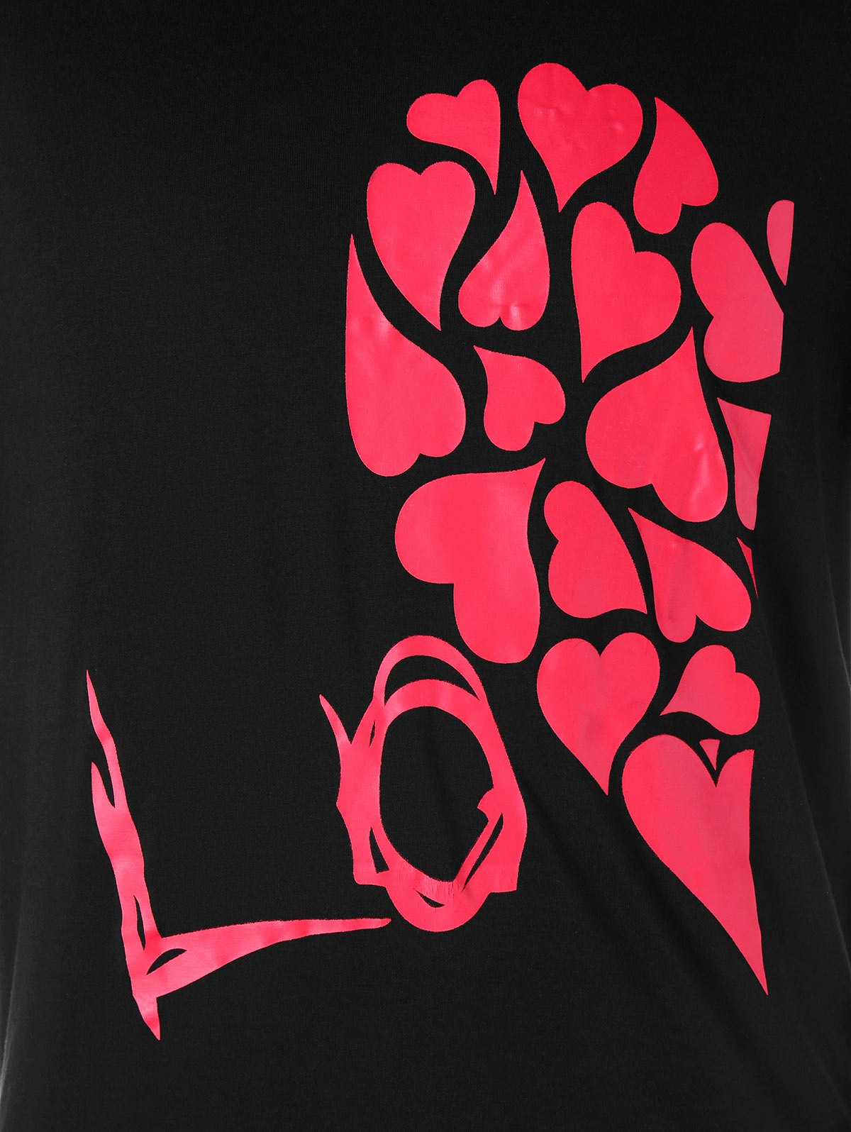 Valentines Day Heart Printed Matching Couple Short Sleeve T-shirt - BLACK MEN XL