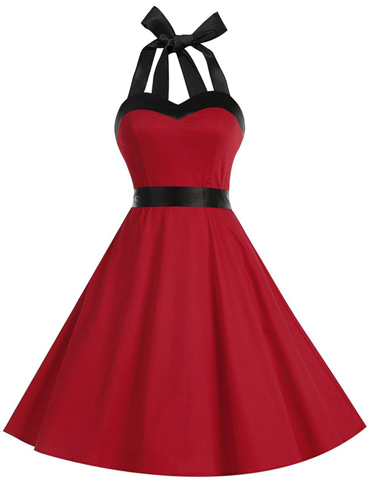 Lace Up Halter Two Tone Vintage Dress two tone swing lace dress
